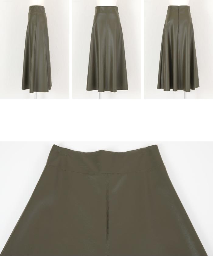 フェイクレザーフレアスカート14