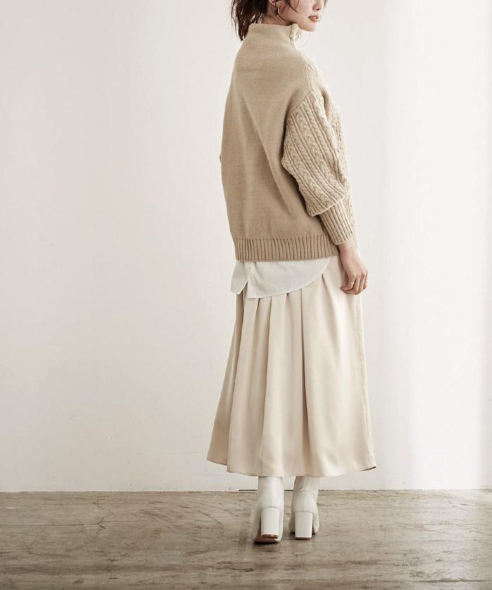 サテンギャザースカート6