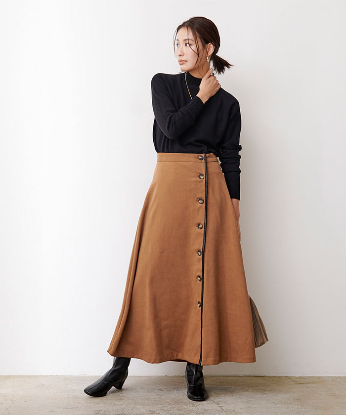 フェイクスエードレザーパイピングスカート1