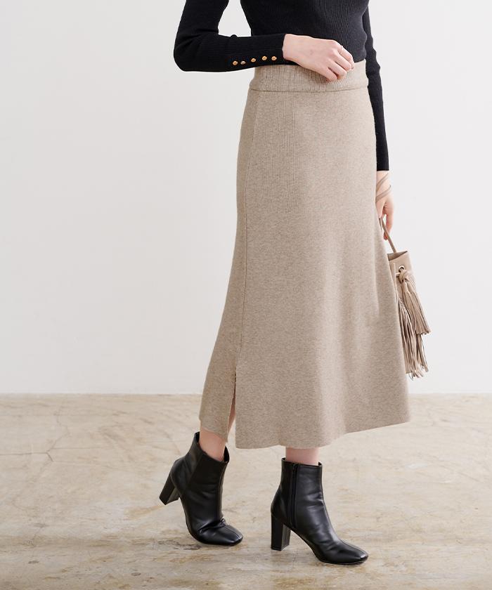 サイドスリットニットスカート2