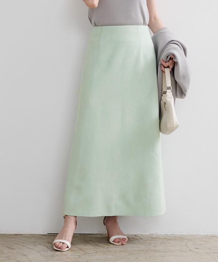 フェイクスエードセミフレアタイトスカート2