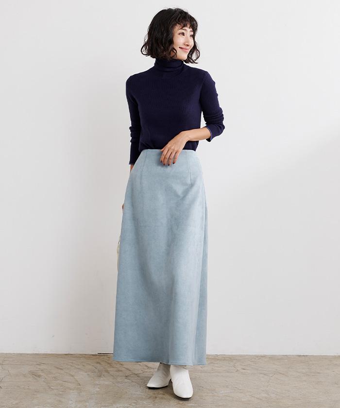 フェイクスエードセミフレアタイトスカート1