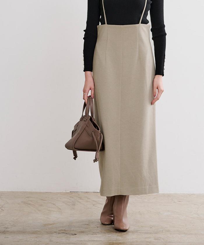 ウールライクサロペットタイトスカート2