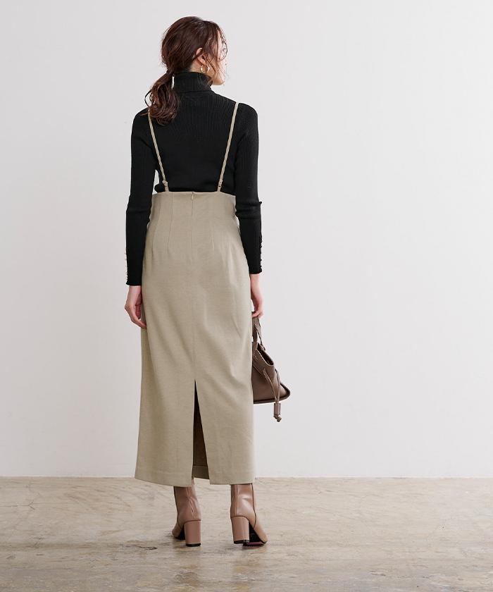 ウールライクサロペットタイトスカート3