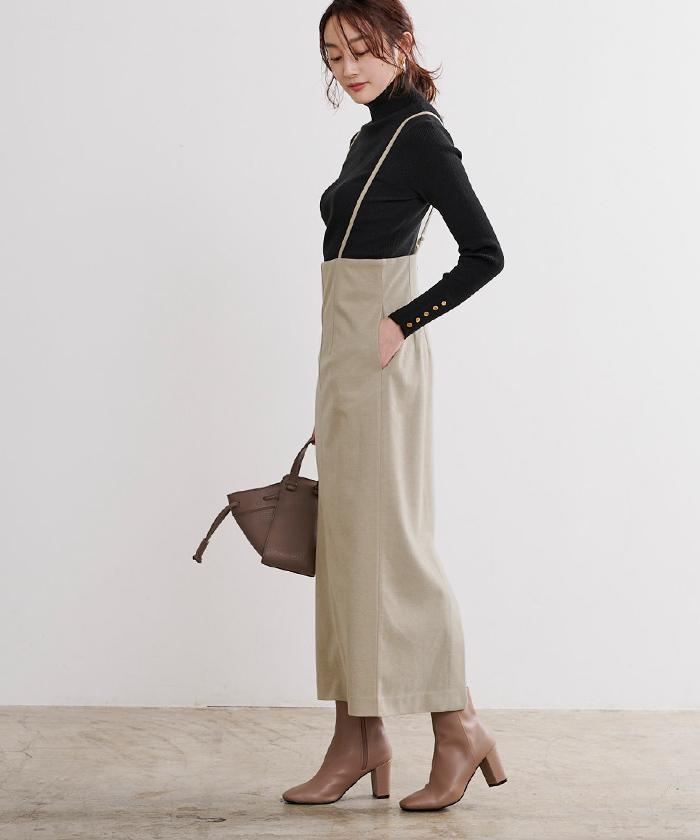 ウールライクサロペットタイトスカート4