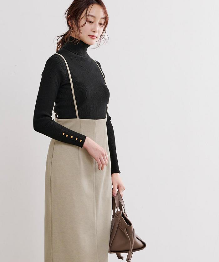 ウールライクサロペットタイトスカート5