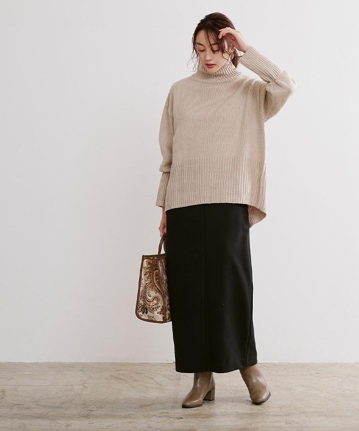 ウールライクサロペットタイトスカート6