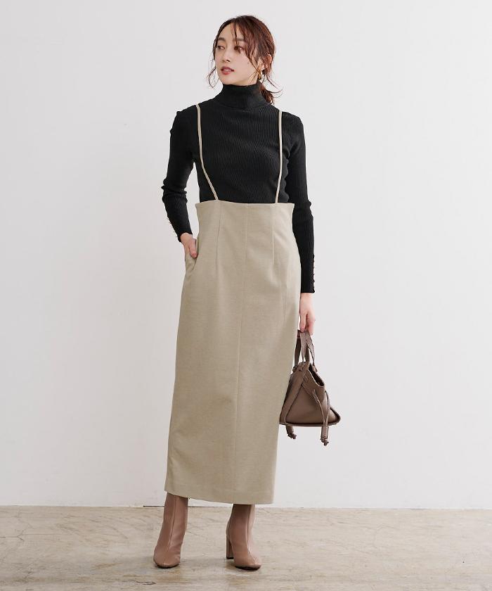 ウールライクサロペットタイトスカート1