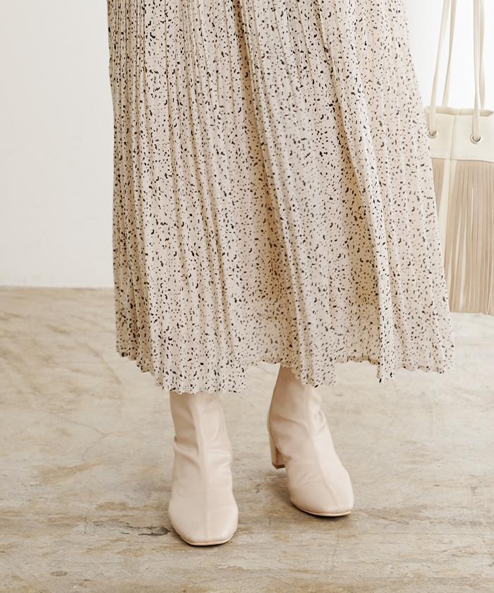 ランダムドットプリーツスカート5
