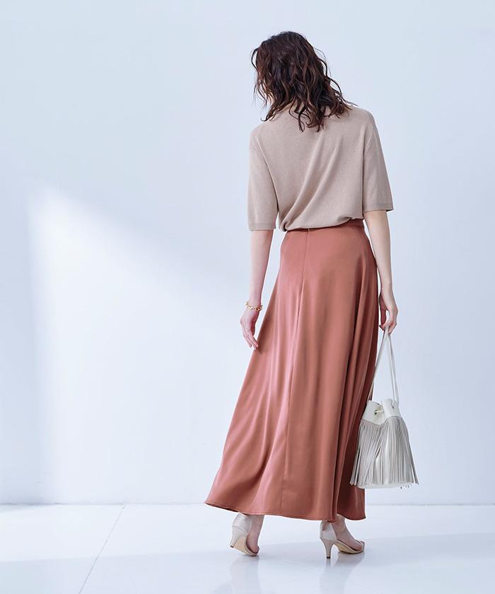 サテンロングスカート2