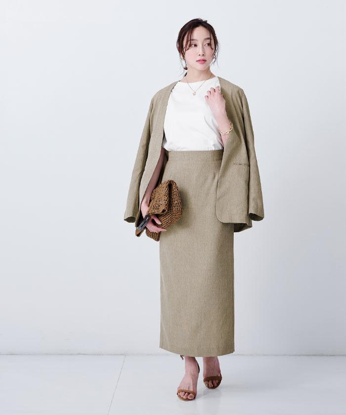 リネンライクロングタイトスカート2