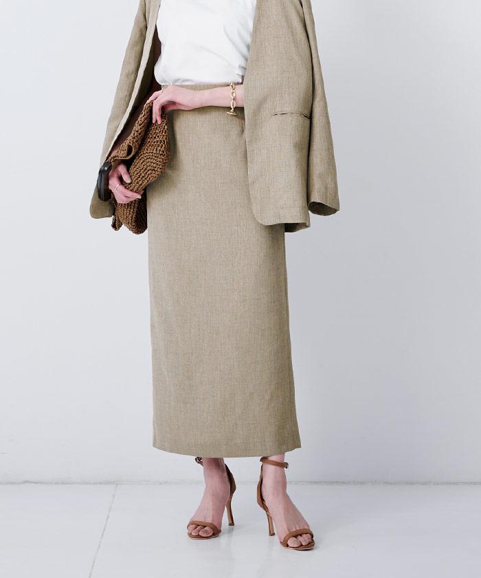 リネンライクロングタイトスカート3