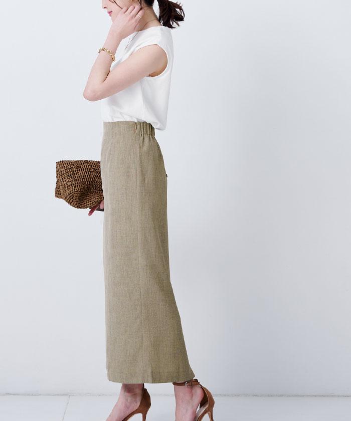 リネンライクロングタイトスカート4