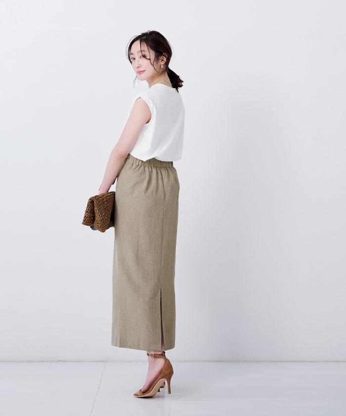 リネンライクロングタイトスカート5