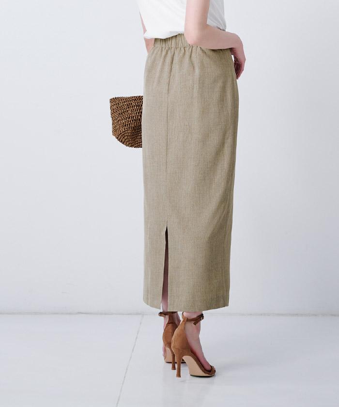リネンライクロングタイトスカート6