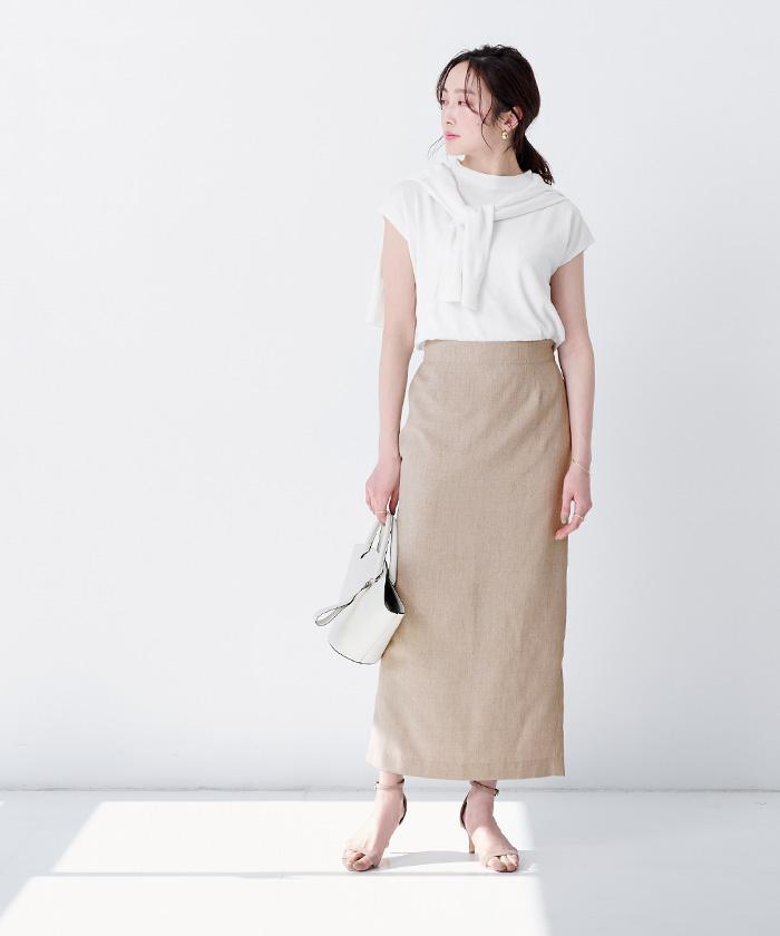リネンライクロングタイトスカート8