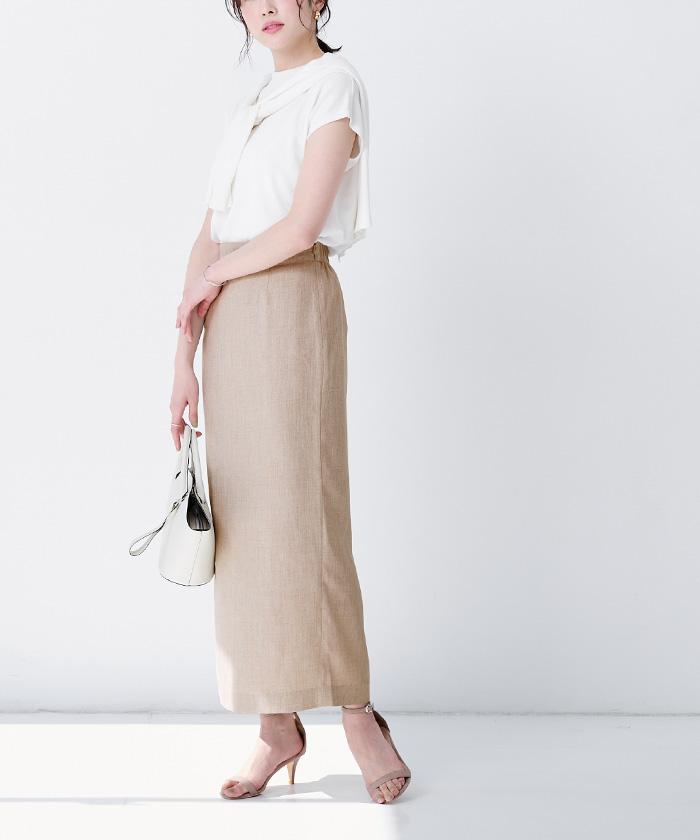 リネンライクロングタイトスカート9