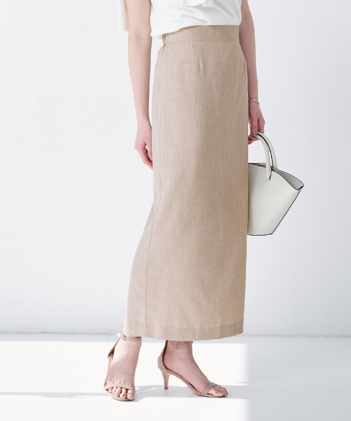 リネンライクロングタイトスカート10