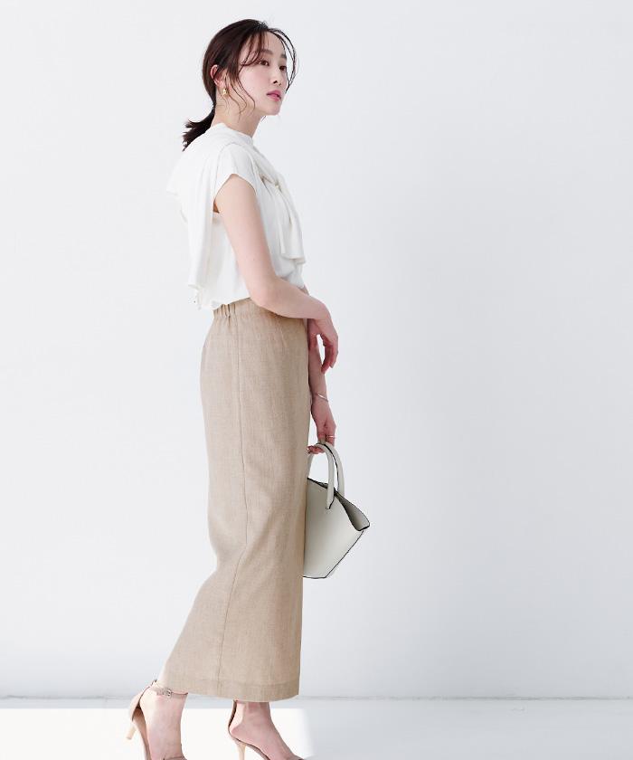 リネンライクロングタイトスカート12