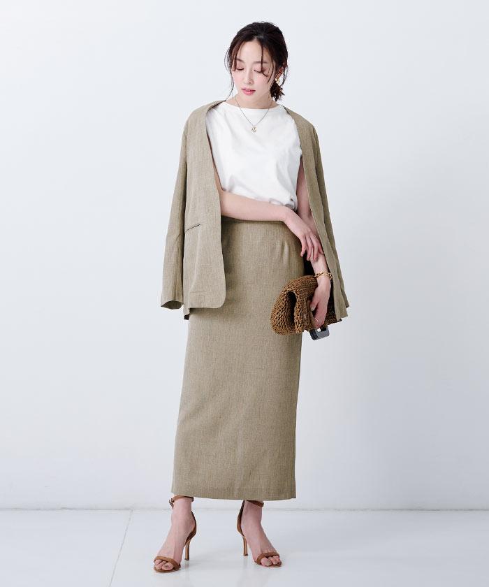 リネンライクロングタイトスカート1