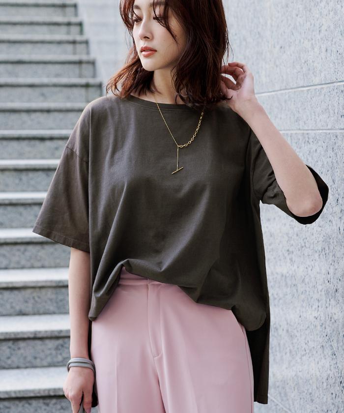 オーガニックコットンヘムデザインTシャツ5
