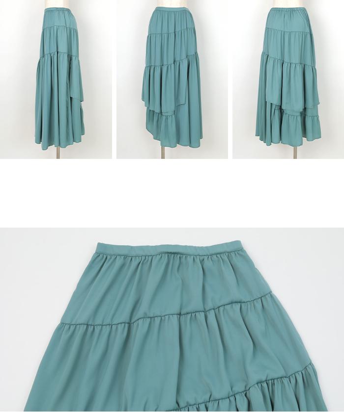 サテンティアードスカート14