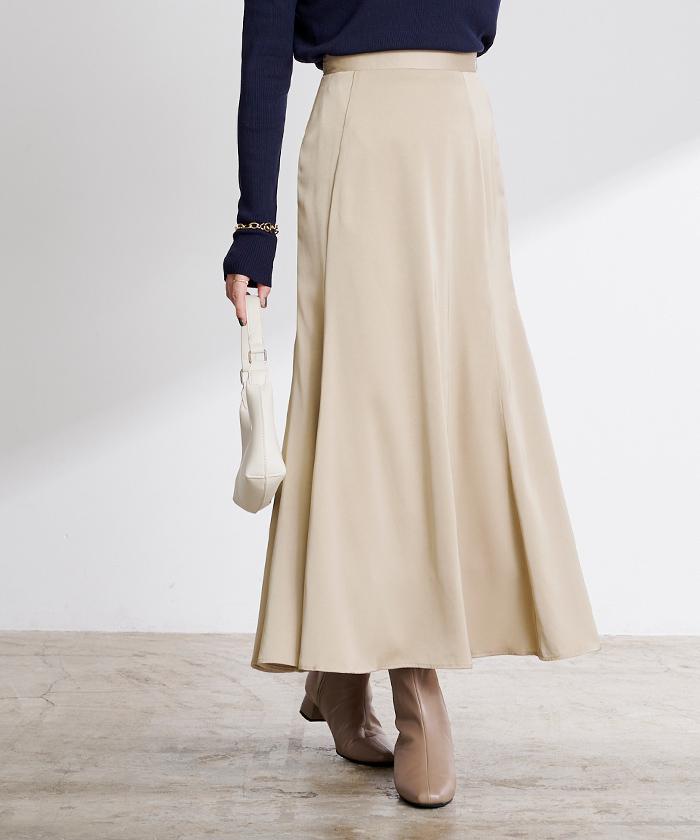サテンマーメイドフレアスカート6