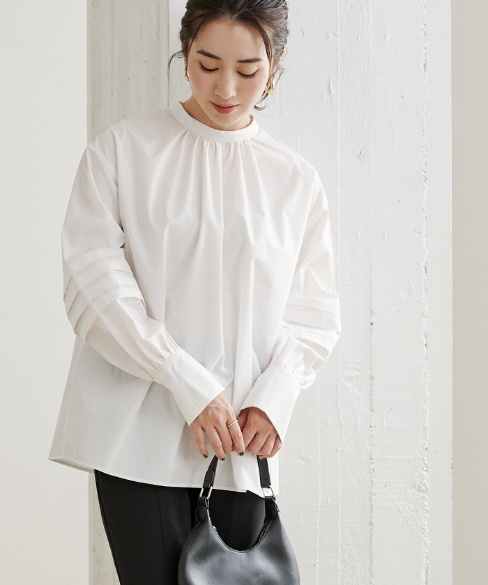 タックスリーブバンドカラーシャツ6