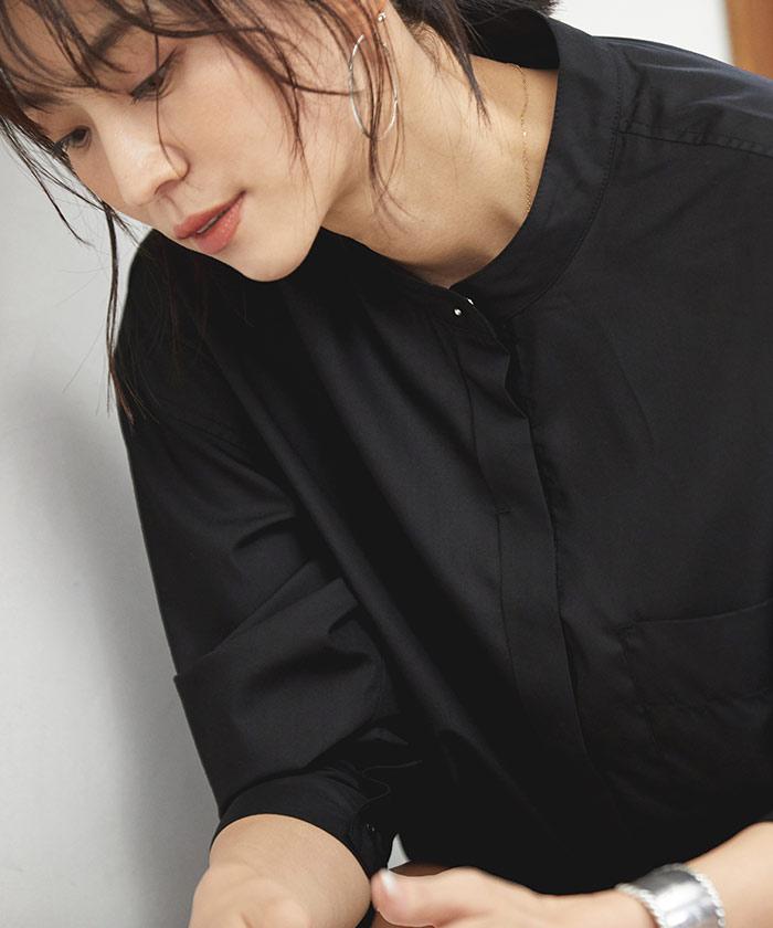 バンドカラースリットシャツ5