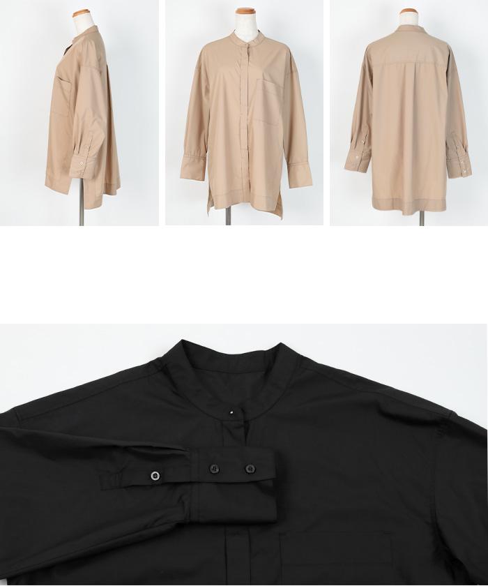 バンドカラースリットシャツ14